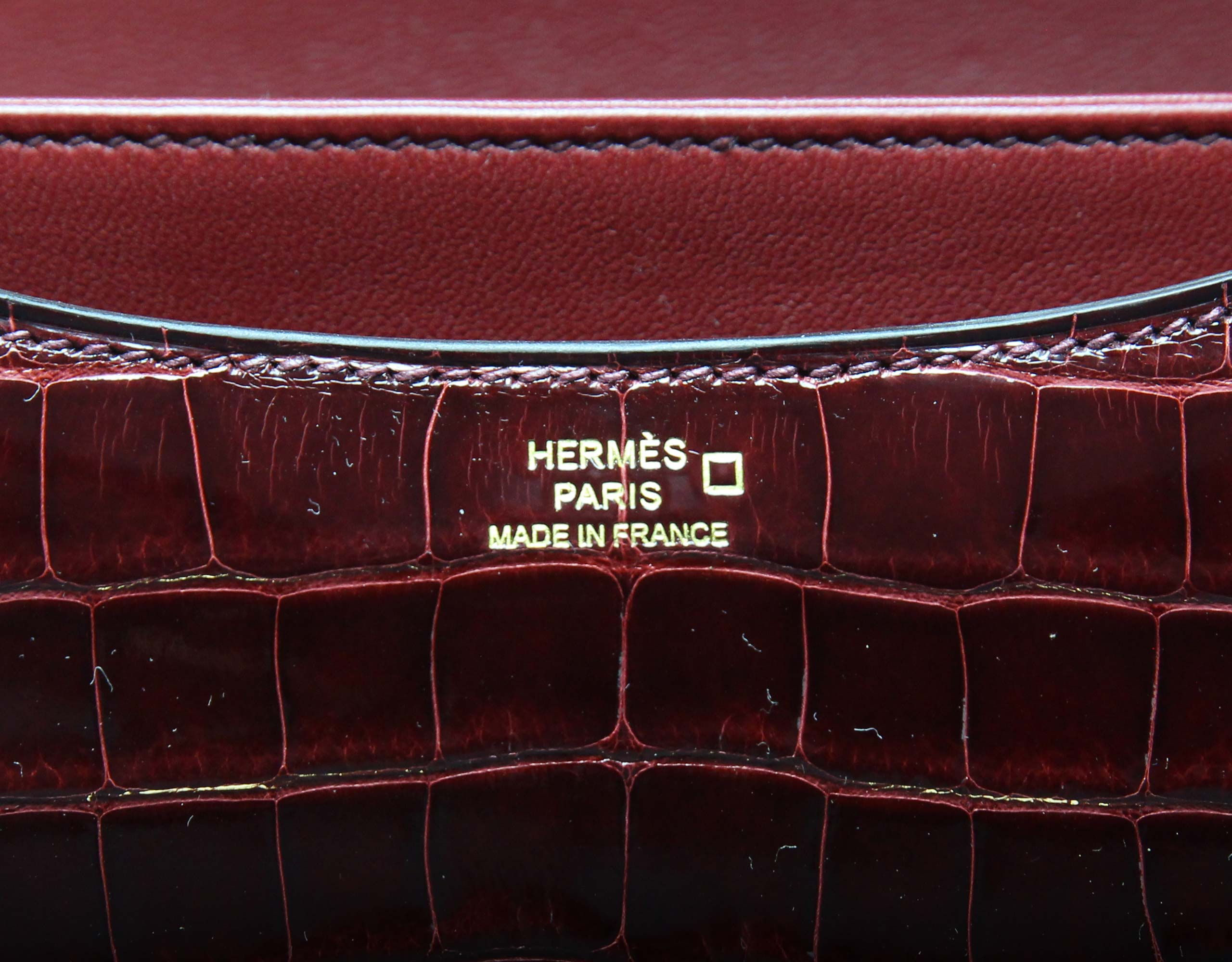 Hermes Constance Bordeaux Shiny Alligator Lizard