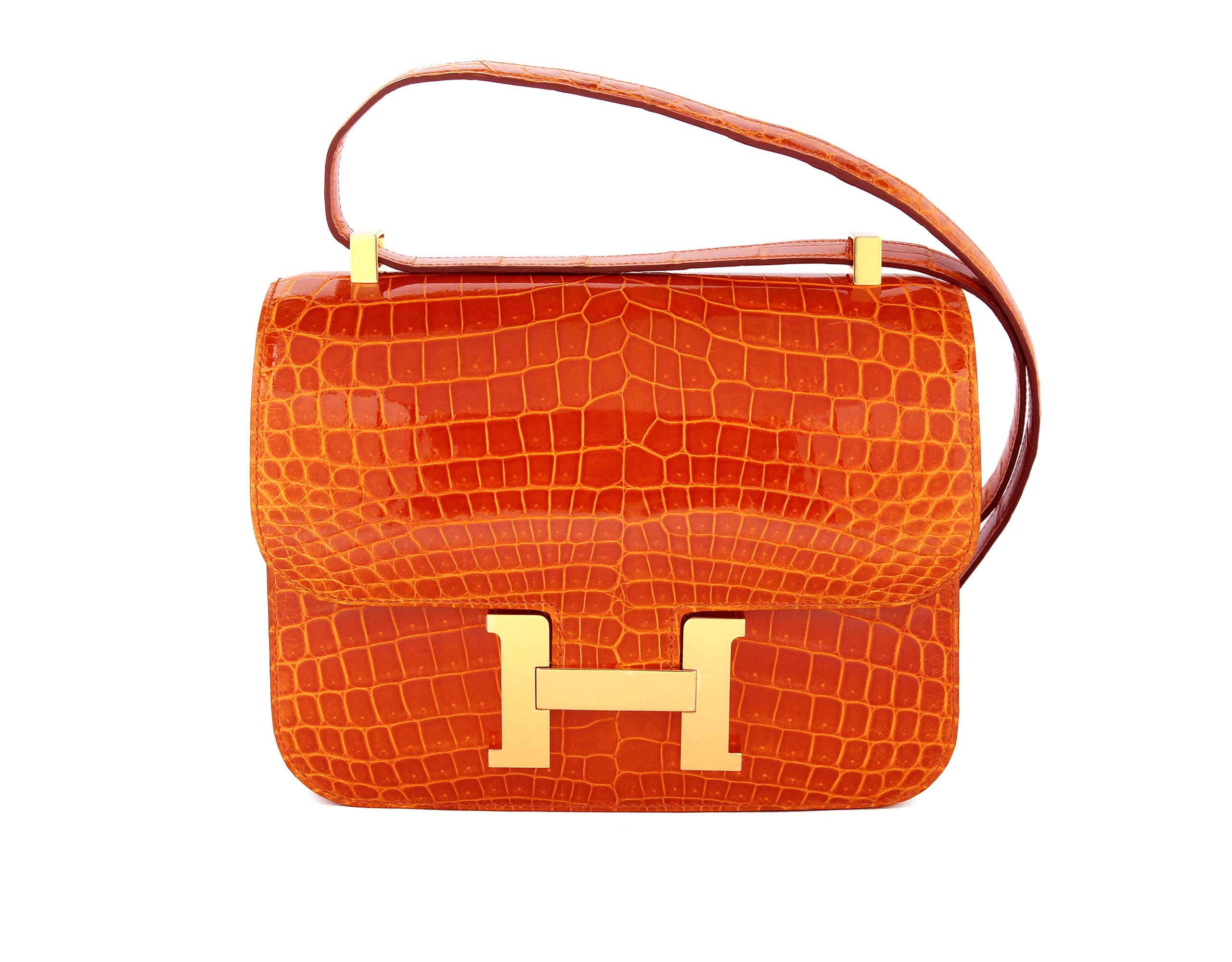 Hermes Constance Pain D'Epice Shiney Nilo Croc with Gold