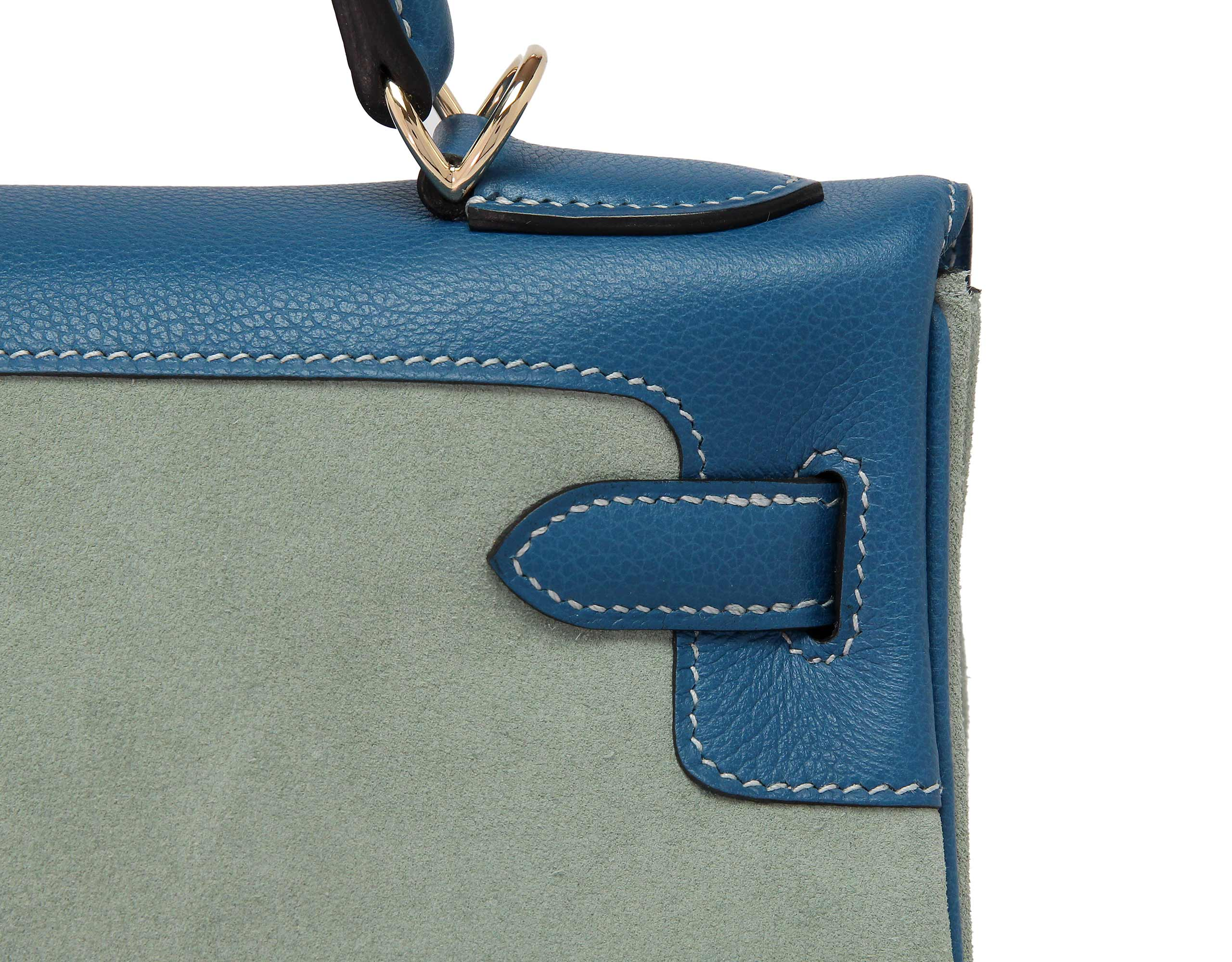 Hermes Kelly Blue de Galice & Cel Suede & Swift with Gold
