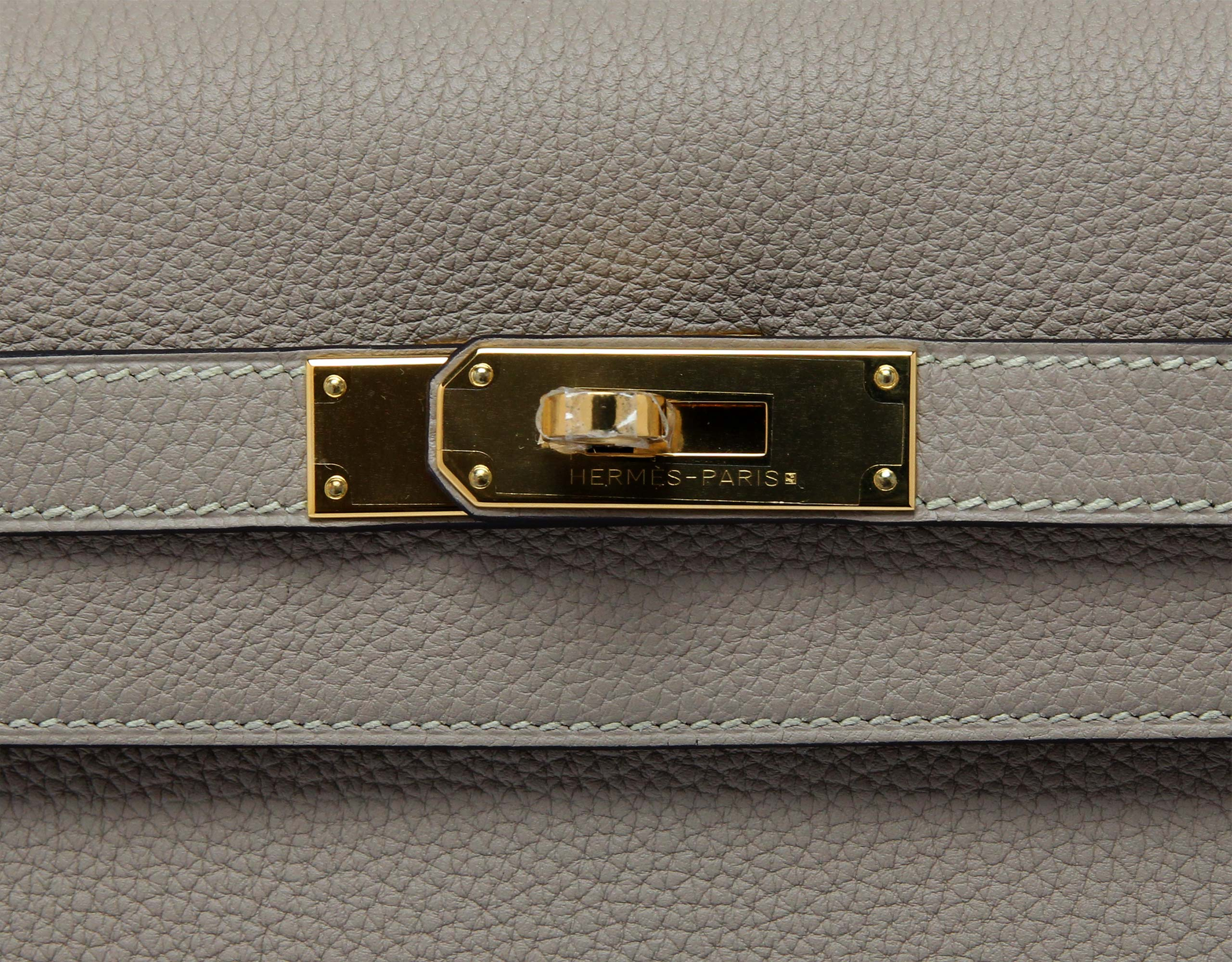 Hermes Kelly Gris Tortorelle Togo with Gold
