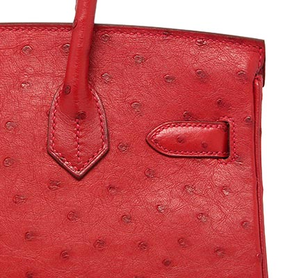 Hermes Birkin Rouge Vif Ostrich with Gold