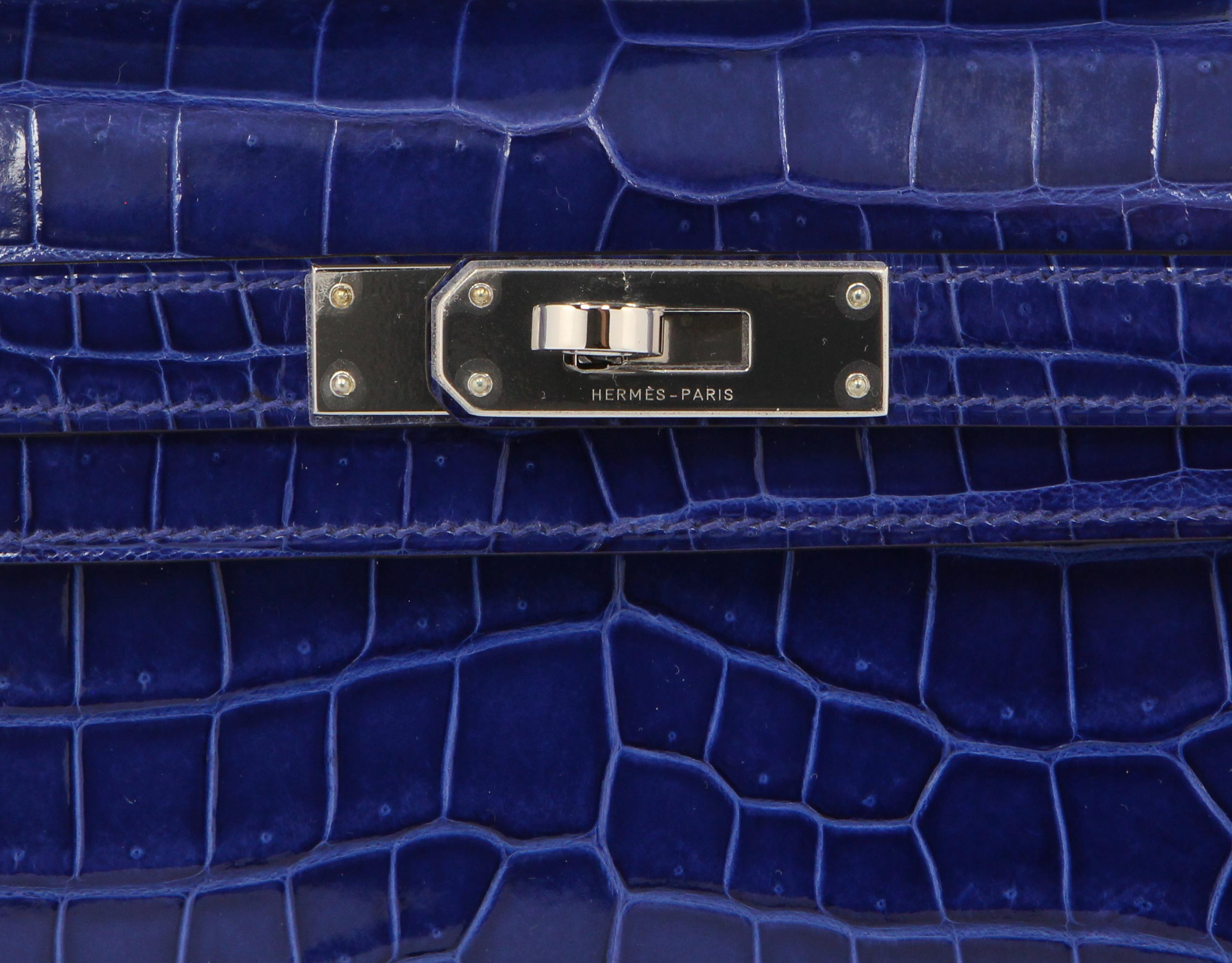 Hermes Kelly Cut Blue Electric Shiny Porosus Croc with Palladium
