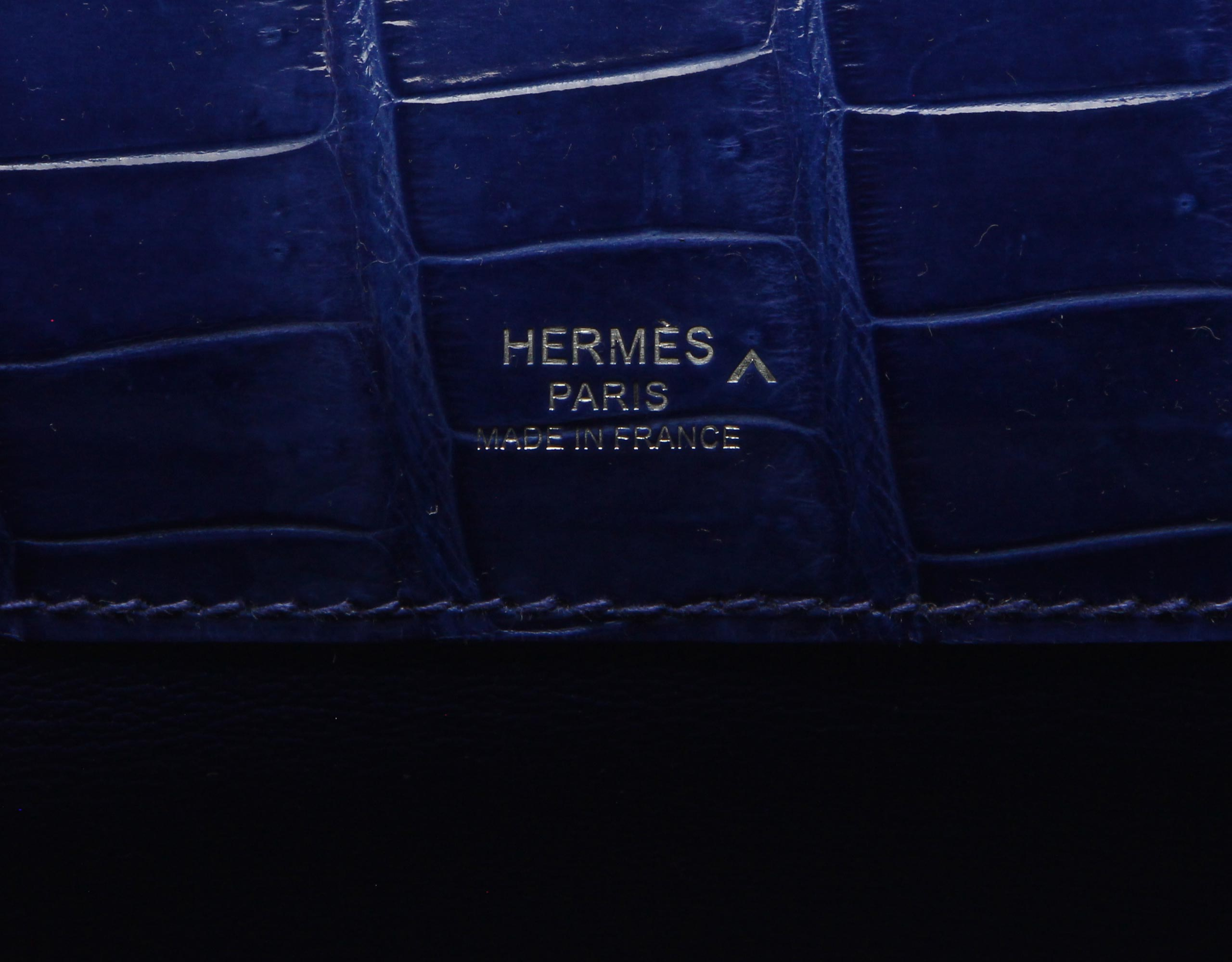 ad06576f4879 ... where can i buy hermes kelly cut blue electric shiny porosus croc with  palladium 635dc 62f92