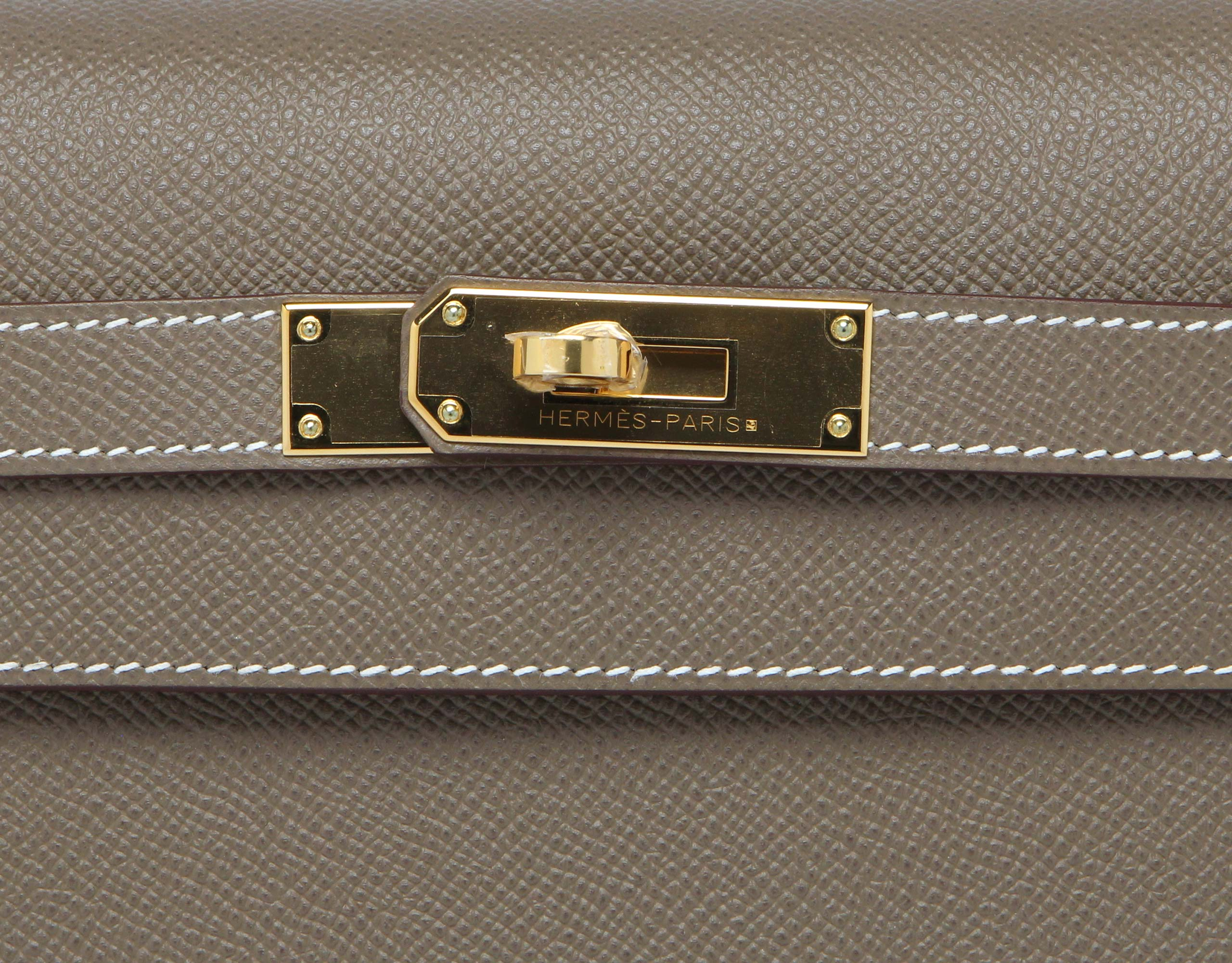 Hermes Kelly Etoupe Sellier Epsom with Gold