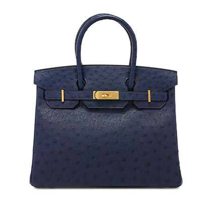 Hermes Birkin Blue iris Ostrich with Gold