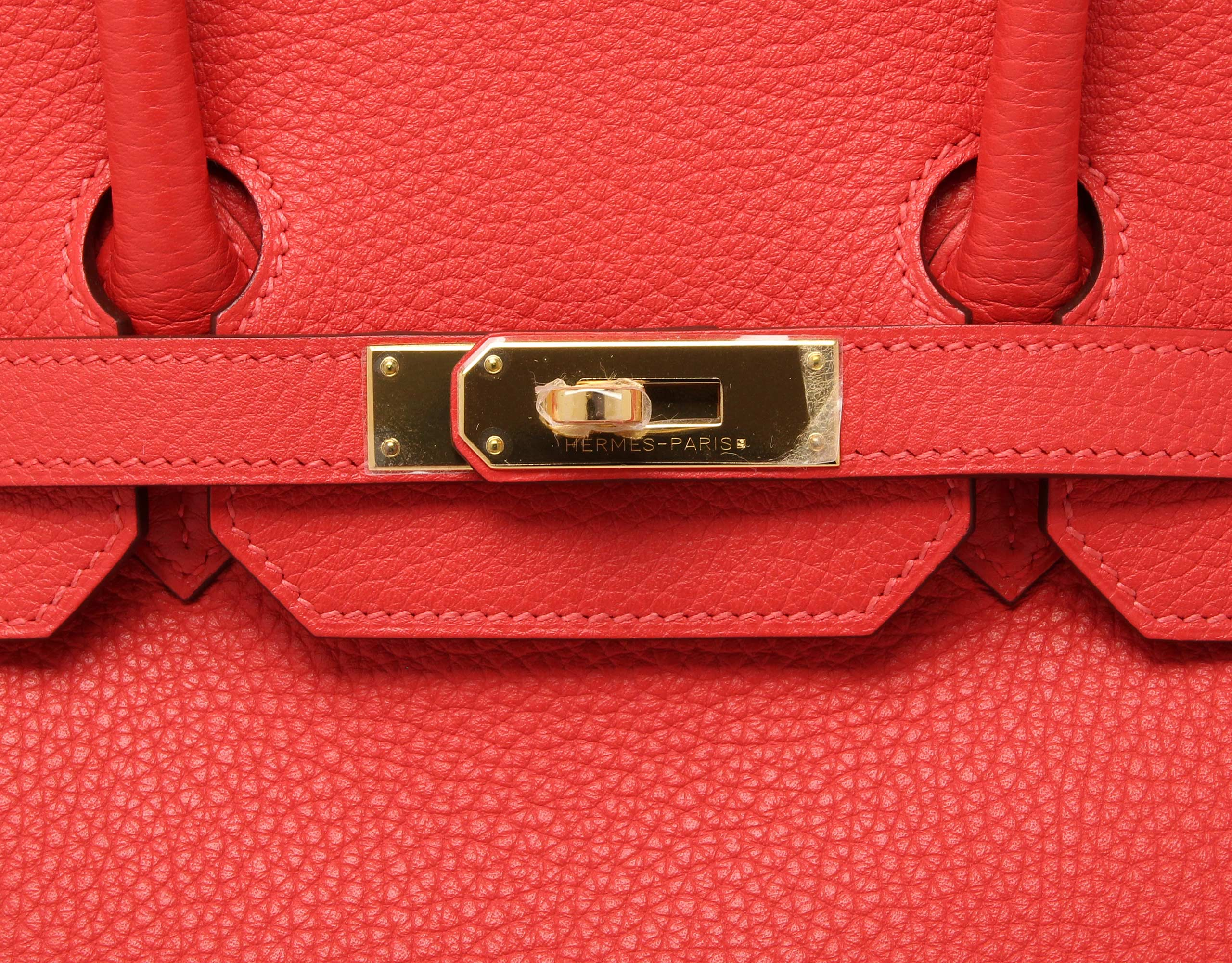 Hermes Birkin Rouge Pivoine Clemence with Gold