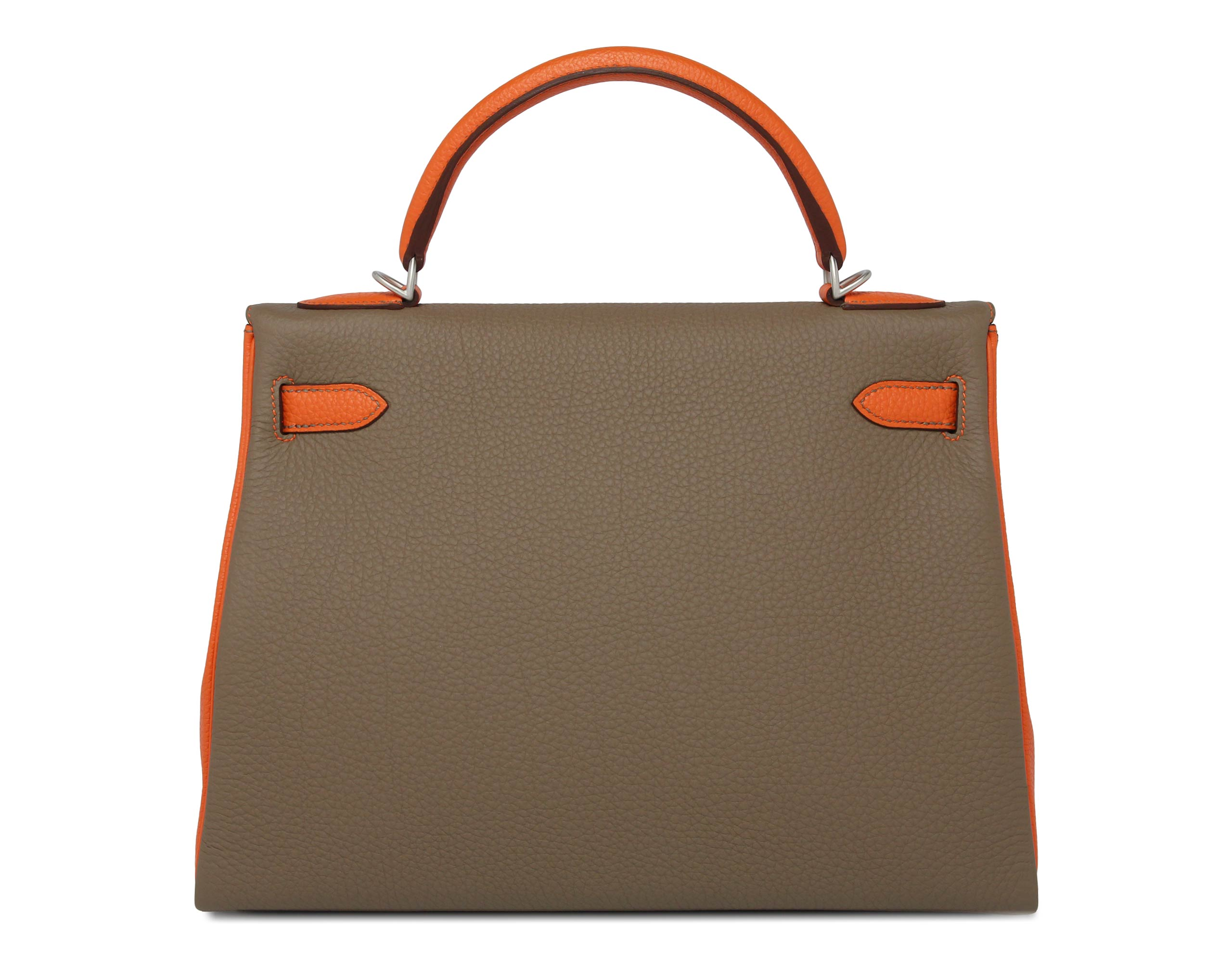 Hermes Kelly Orange Etain Bi-colour with Brushed Palladium