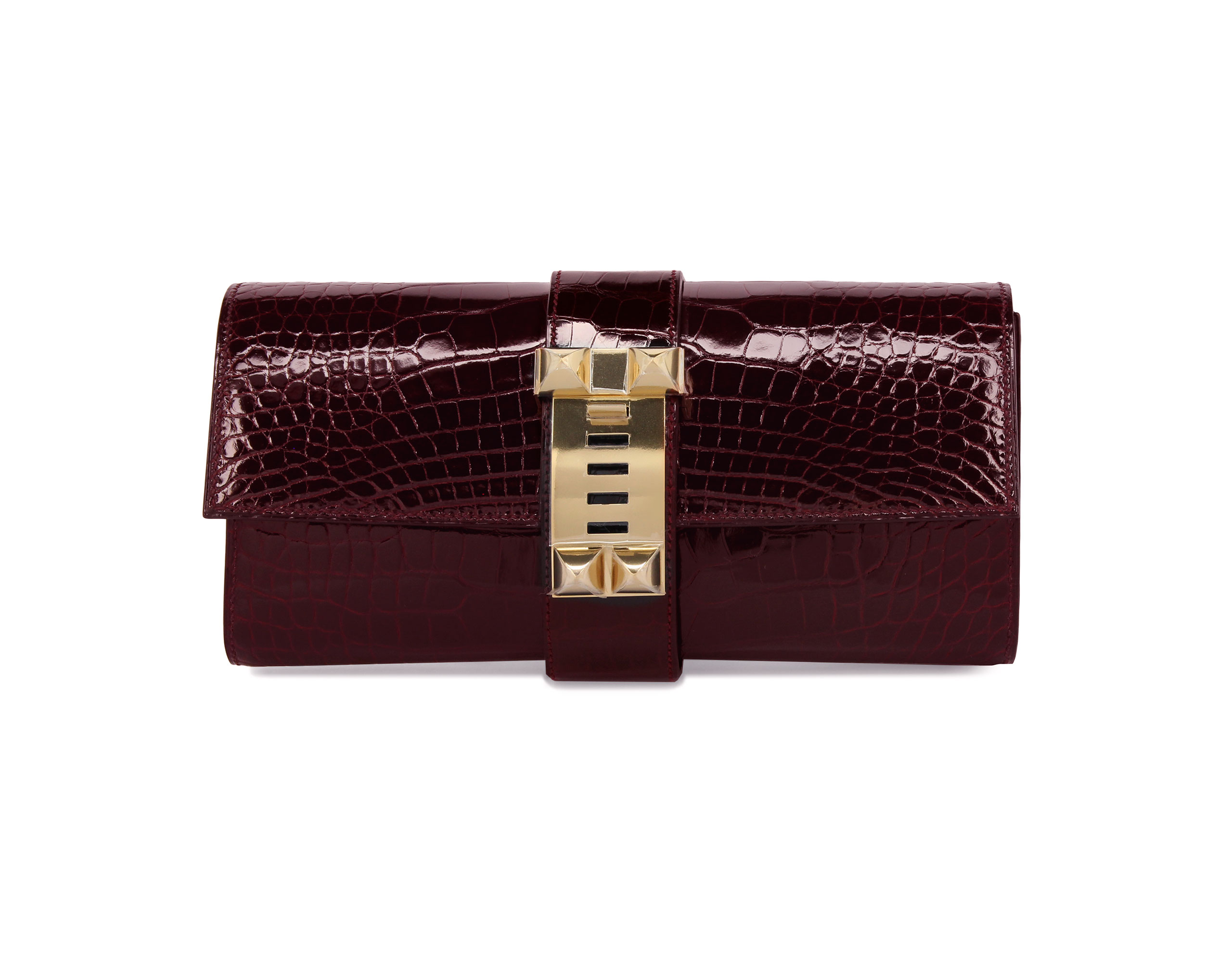 Hermes Medor Bordeaux Shiny Alligator with Gold