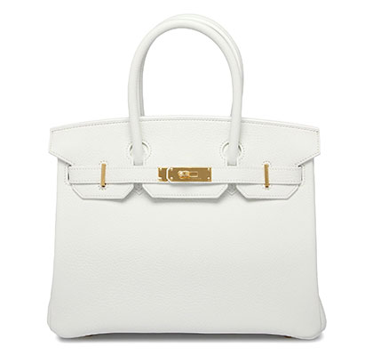 Hermes Birkin 30cm White Clemence with Gold   Bags of Luxury 186f65769c