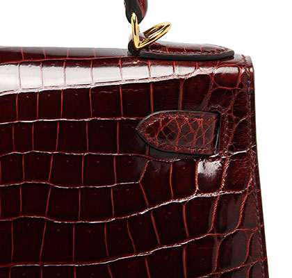 Hermes Kelly Bourgogne Shiny Nilo Croc with Gold