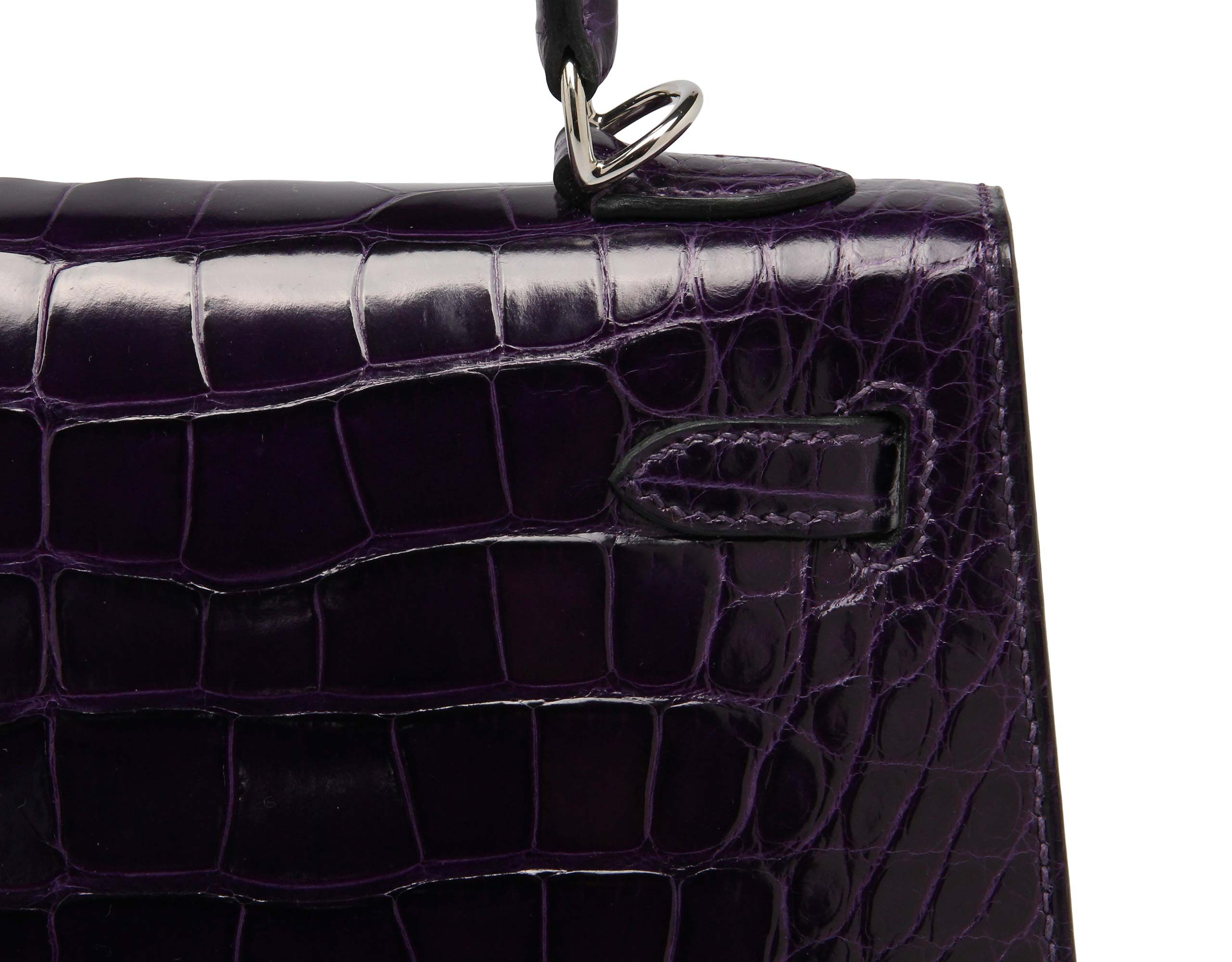 Hermes Kelly Amethyste Shiny Nilo Croc with Palladium