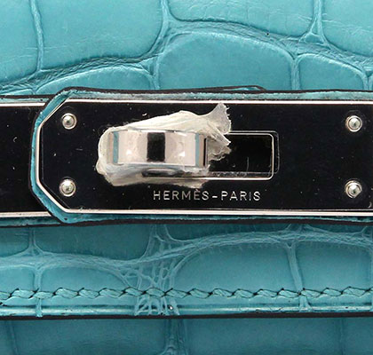 Hermes Kelly Cut Blue Saint Matt Aligator with Palladium