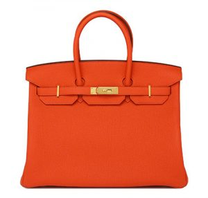 orange hermes birkin feu