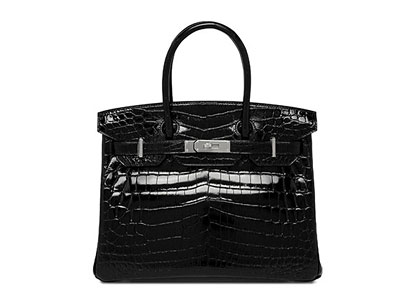Hermes Birkin Black Shiny Nilo Croc with Palladium