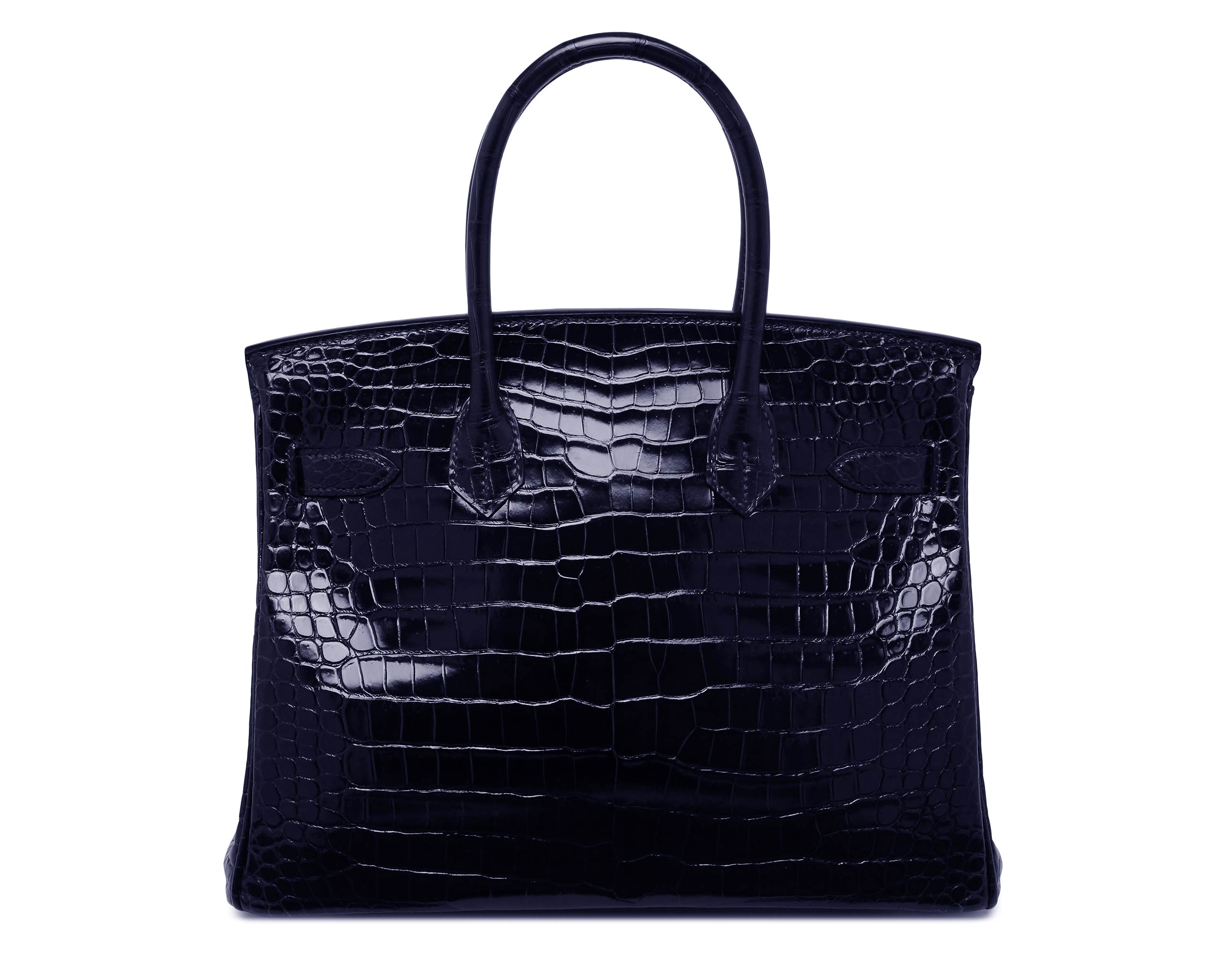 Hermes Birkin Blue Marine Shiny Porosus Croc with Palladium