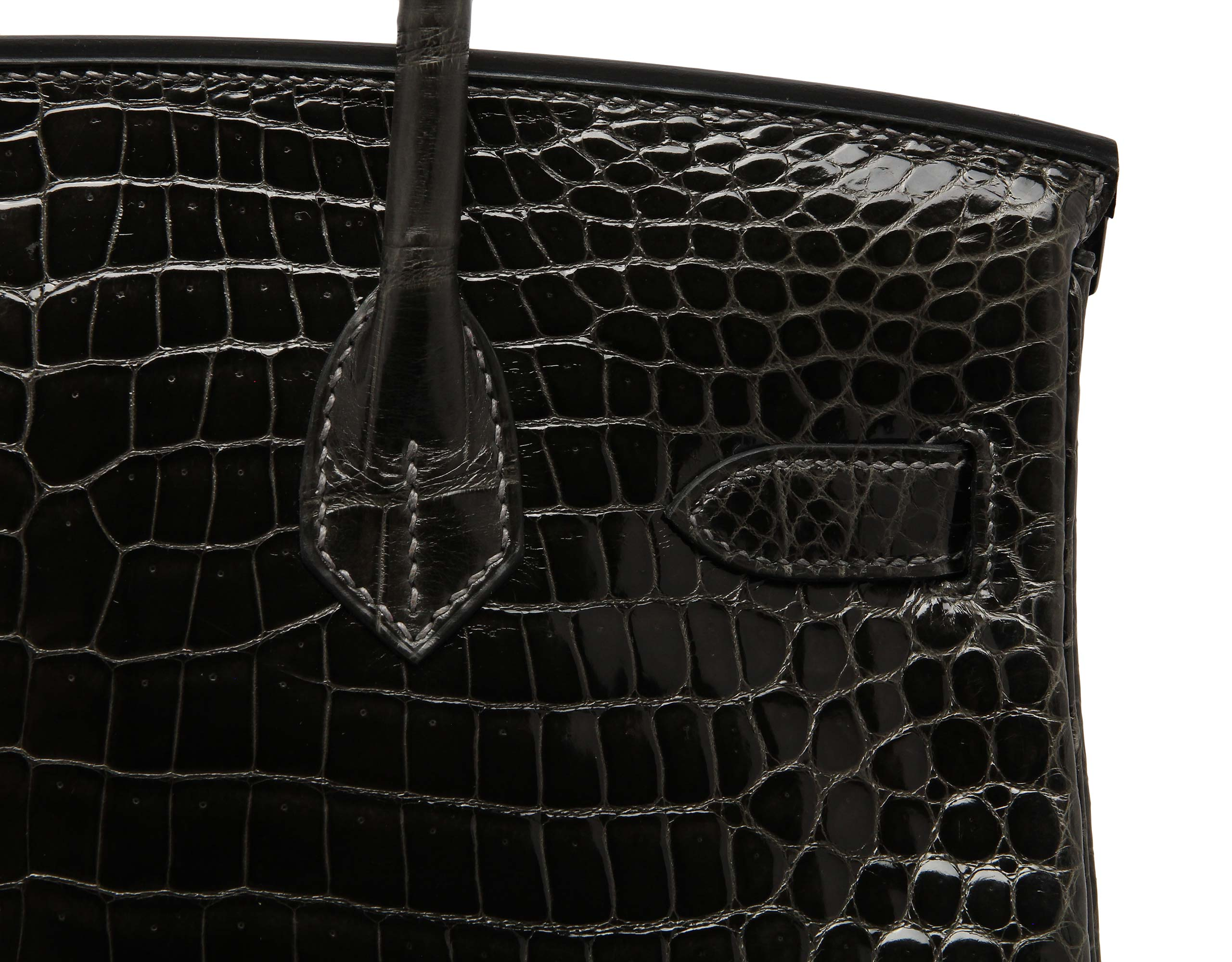 Hermes Birkin Graphite Shiny Nilo Croc with Gold