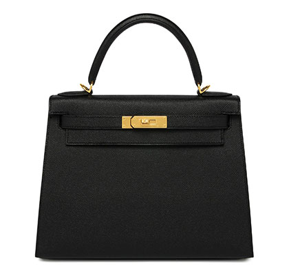 Hermes Kelly Black Epsom with Gold