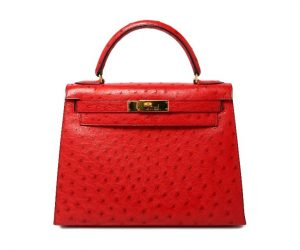 Hermes Kelly Ostrich Rouge