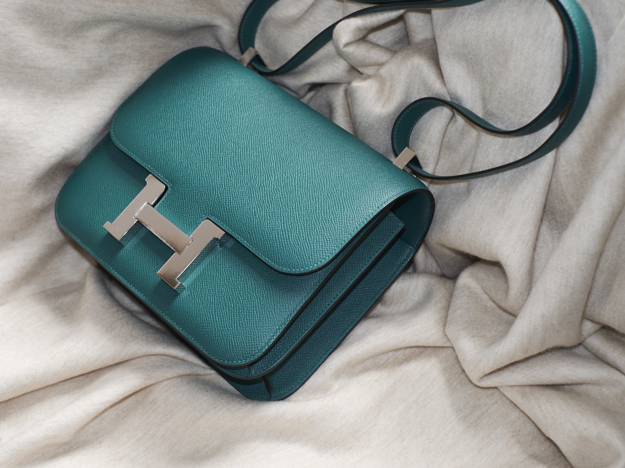 Teal Hermes Constance Bag