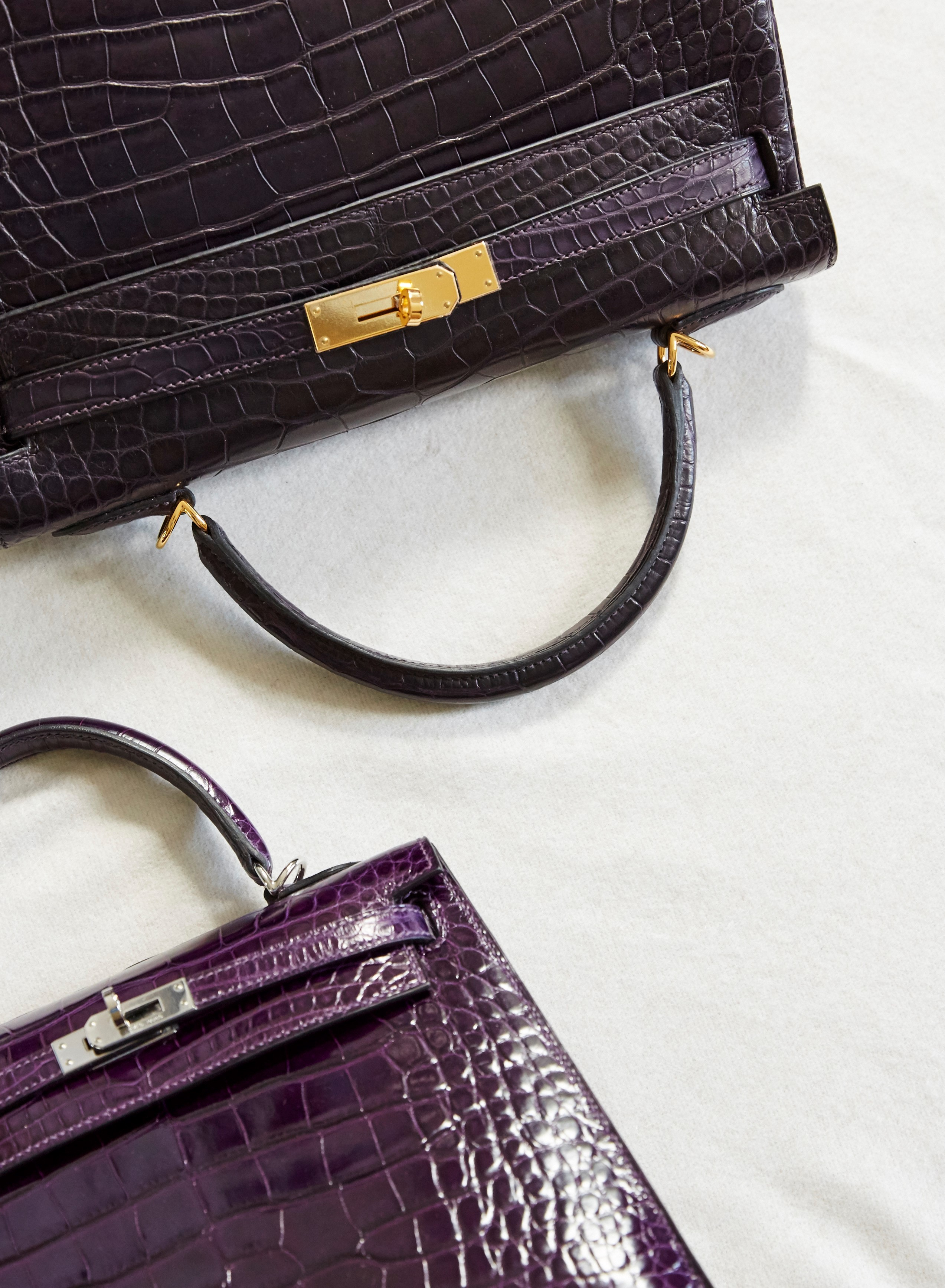 Purple Hermes Kelly Handbags
