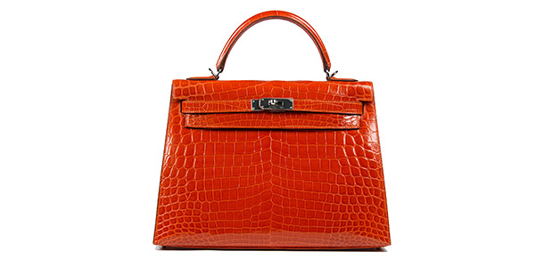 Hermes Kelly Orange Shiny Niloticus Croc 32cm