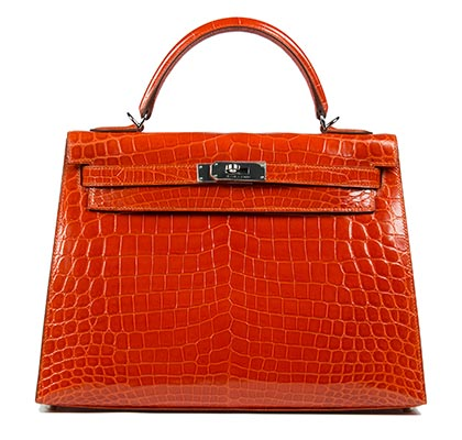 Hermes Kelly orange 32cm bag niloticus croc with palladium