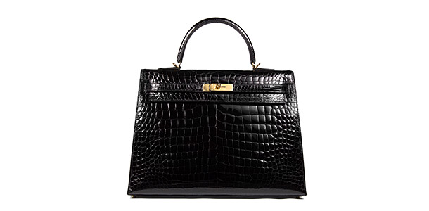 Hermes Kelly Black Shiny Porosus Croc 35cm