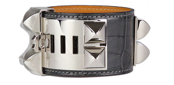 hermes collier de chien graphite matt alligator