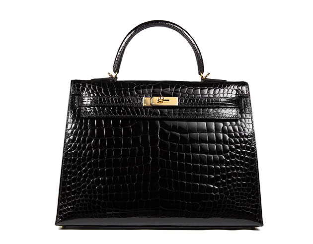 Hermes Kelly Black Croc with Gold Hardware