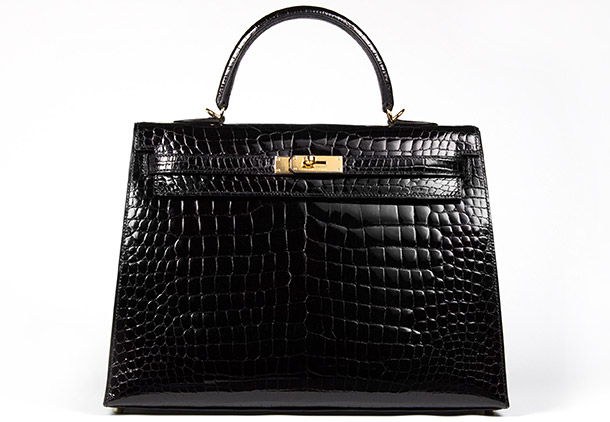 Hermes Kelly 35cm Black Shiny Croc