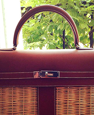 Kelly Picnic Barenia Leather & Wicker Hermes Bag