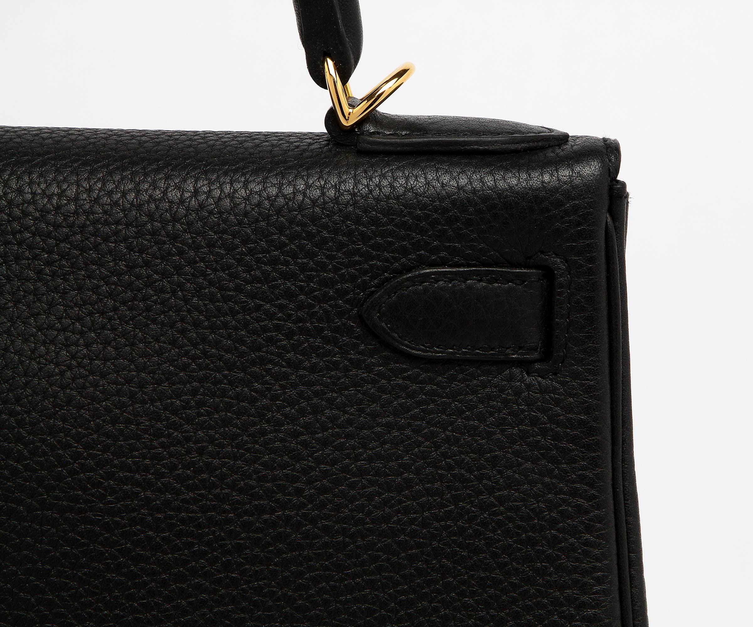Hermes Black Clemence Kelly 28cm Palladium Hardware