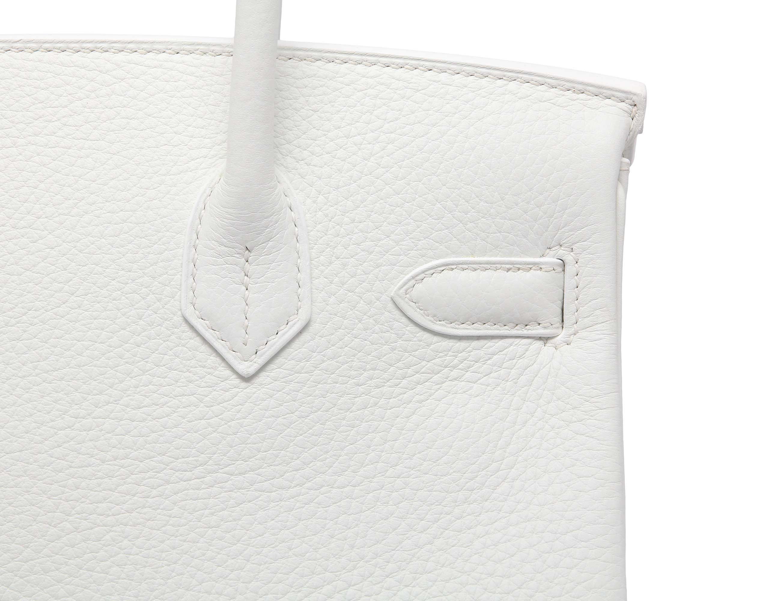 Hermes Birkin 30cm White Clemence with Gold | Bags of Luxury