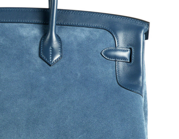 BIRKIN GRIZZLY BLUE THALASSA suede leather example