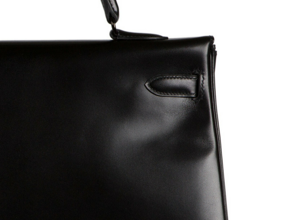 KELLY SO BLACK 35CM BOX CALF LEATHER