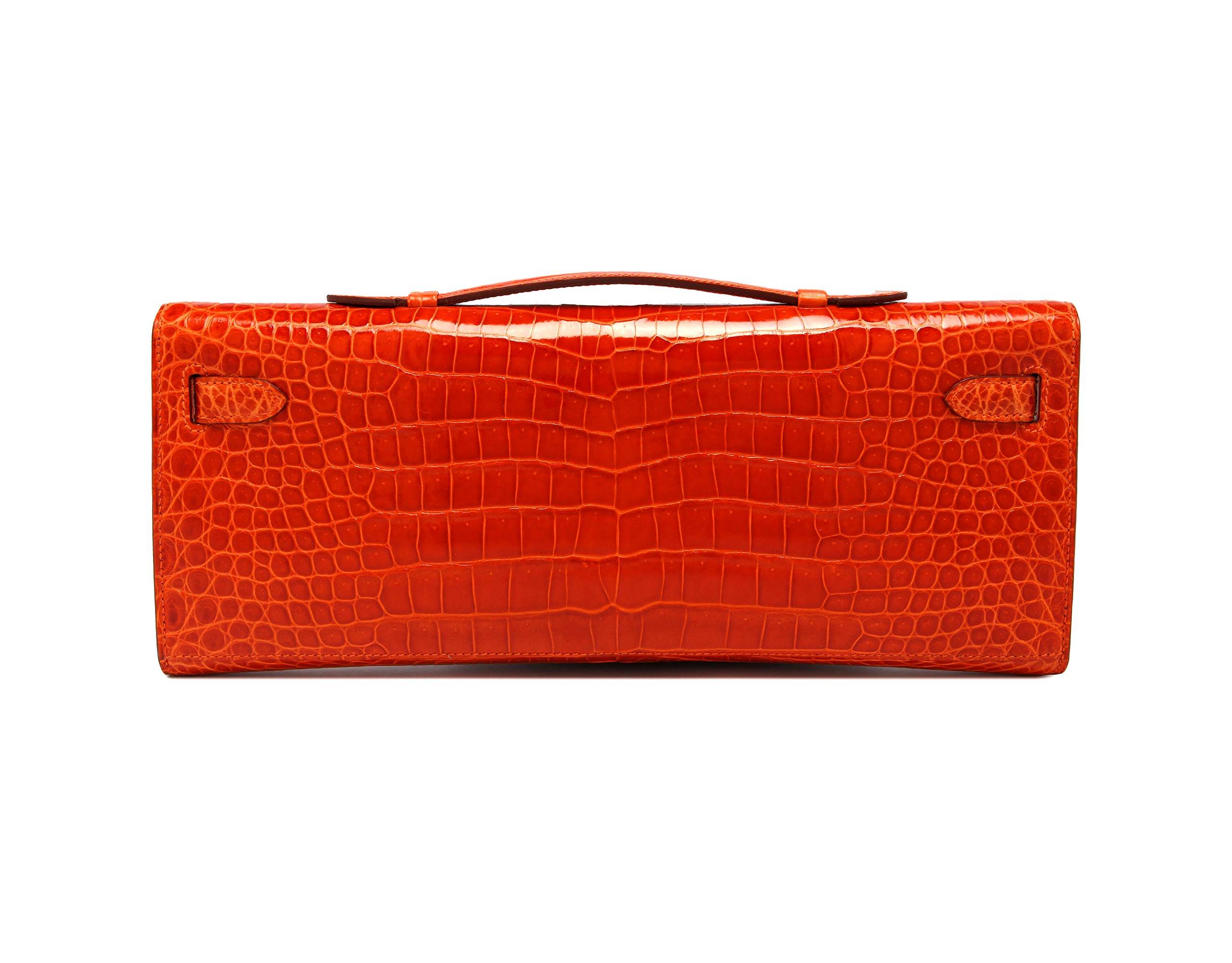 Kelly Cut Orange Shiny Porosus Croc with Palladium