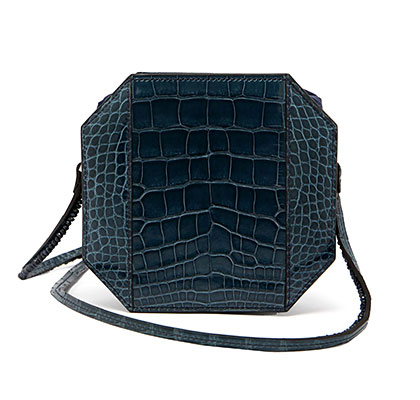 Sac A Poudrier Blue Tempte Shiny Alligator with Blue Sapphires