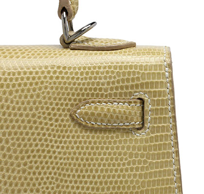 Kelly 25cm Blanc Casse Lizard with Palladium