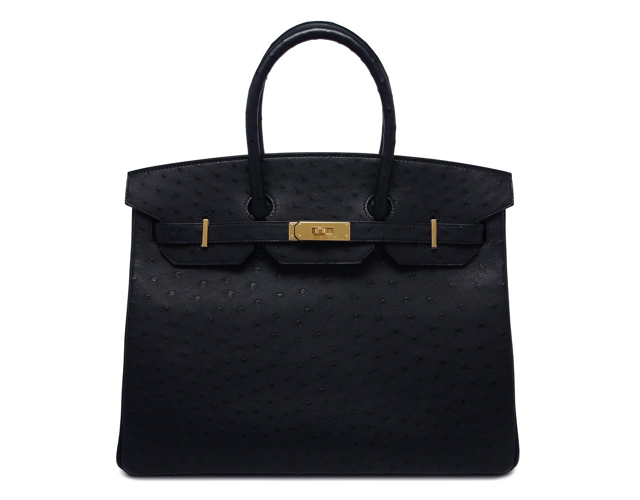 35cm BIRKIN blue indigo ostrich with gold