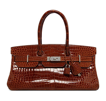 Jean Paul Gaultier Shoulder Birkin Miel Shiny Porosus Croc with Palladium. Stamp: I Square 2005.