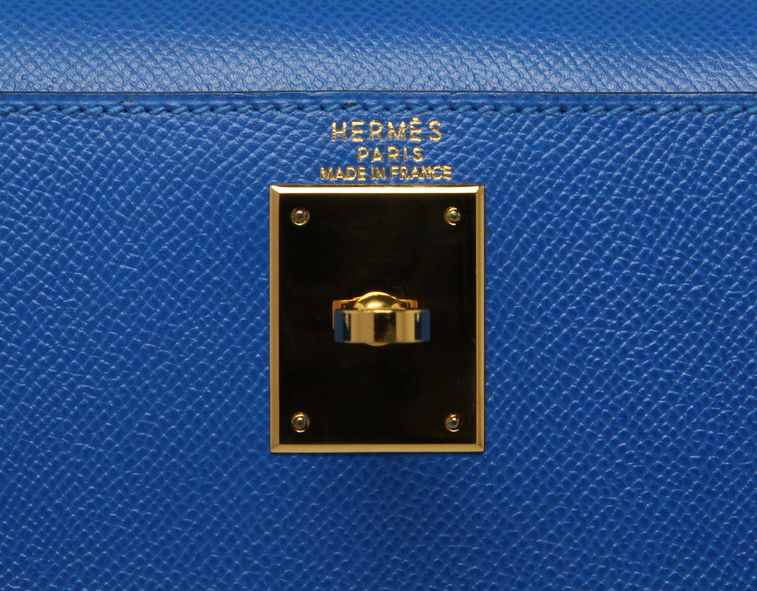28cm (sellier) french blue courchevel with gold. Stamp: A Square 1997