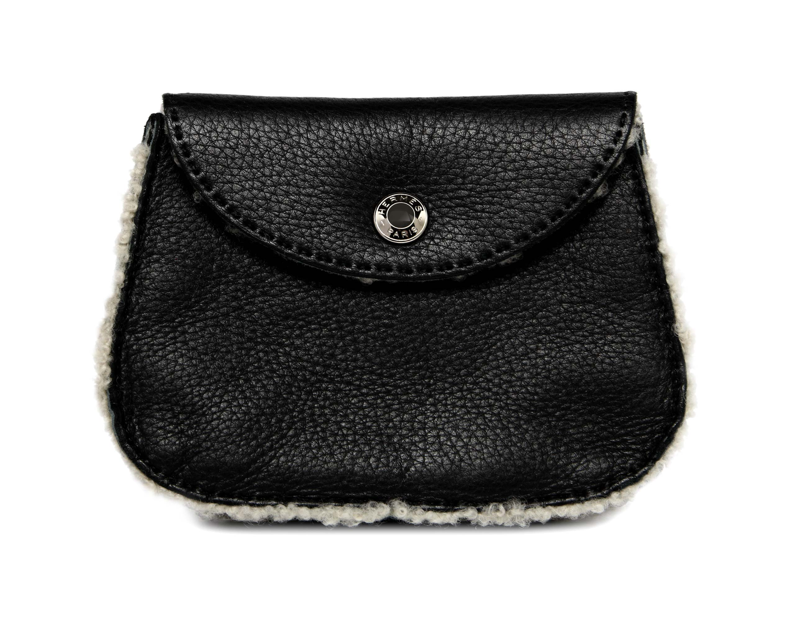 Shearling purse belt in black with palladium